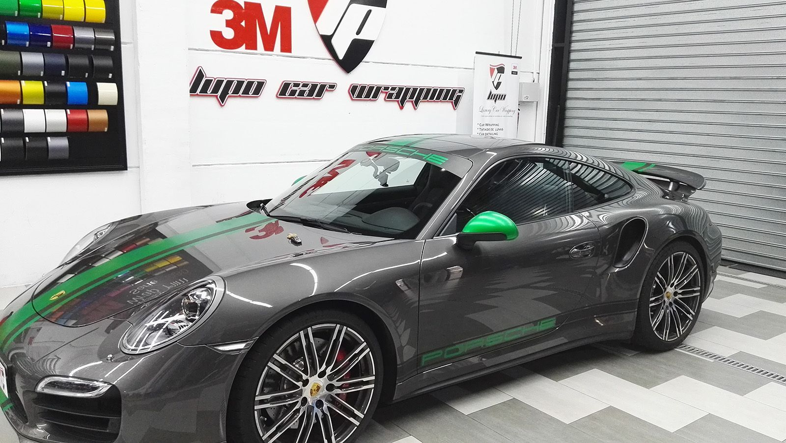 porsche 911 turbo dise o franjas verde lupo car wrapping