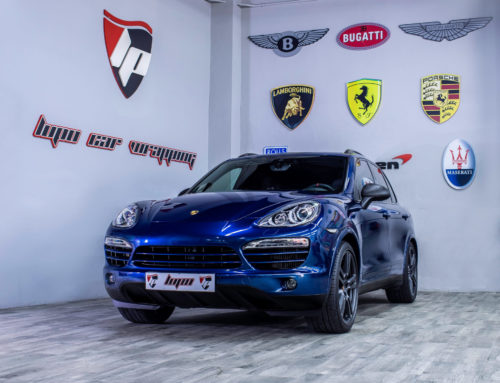 Porsche Cayenne wrapping integral azul brillo Hexis