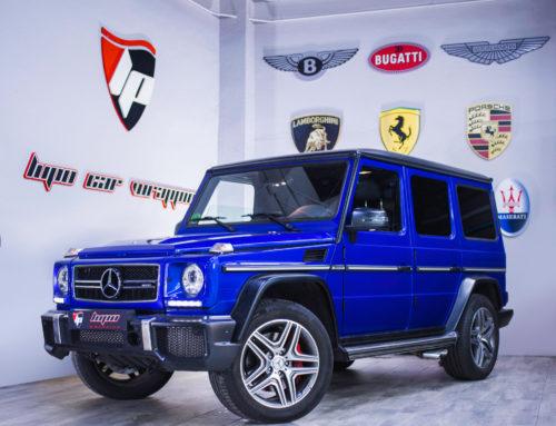 Mercedes G500 Full Wrap azul eléctrico