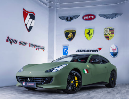 Ferrari GTC4 Lusso Full Wrap Verde Militar Aterciopelado